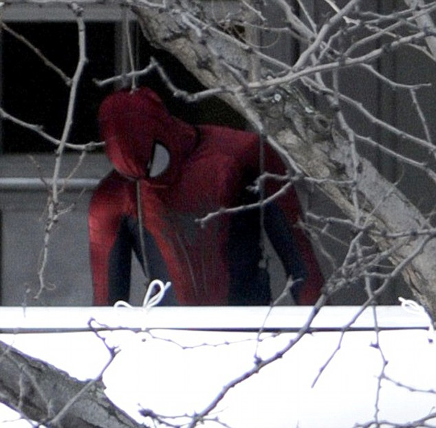 Spiderman spotted in full costume on set in New York City