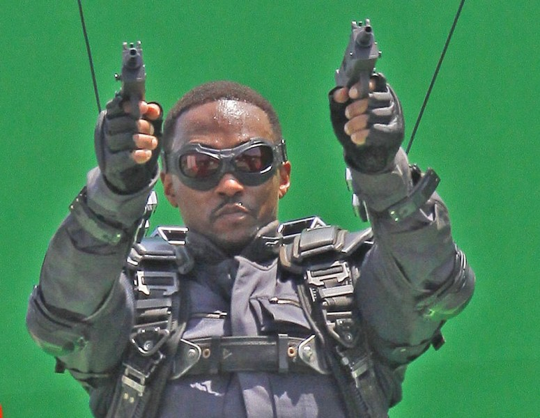 "EXCLUSIVE Anthony Mackie, who plays The Falcon, was spotted on the set of ""Captain America: Winter Soldier"" filming on location in Los Angeles doing his own stunts in front of a giant green screen.Featuring: Anthony MackieWhere: Los Angeles, CA, United StatesWhen: 01 May 2013Credit: Shinn/JFXimages/Wenn.com"