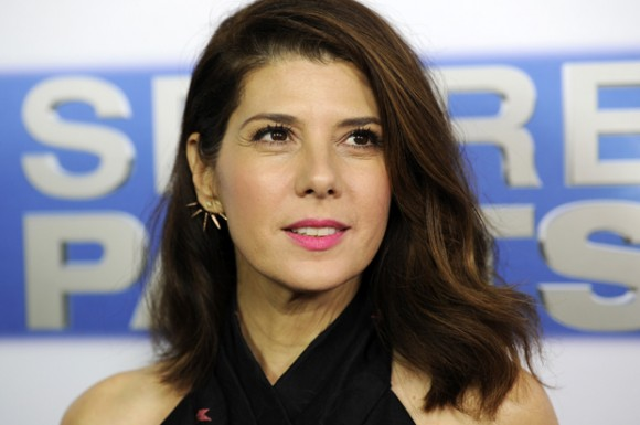 """Marisa Tomei, a cast member in """"Spare Parts,"""" poses at the premiere of the film at Arclight Cinemas on Thursday, Jan. 8, 2015, in Los Angeles. (Photo by Chris Pizzello/Invision/AP)"""